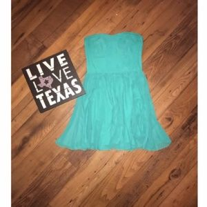 Guess Los Angeles  green strapless dress  size 10